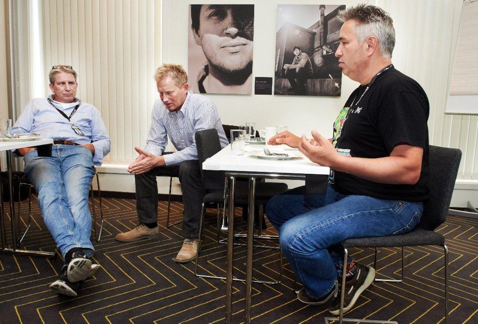 TØFF SITUASJON: Martin Hågensen (fra venstre), Erik Stene og Svein Karlsen må konstatere at det første kalenderåret med drift har ført til et underskudd på mellom fire og fem millioner på grunn av at investeringene ble dyrere enn de hadde håpet. Hågensen skal lede Rock City i tidA fram til Svein Karlsens permanente erstatter er på plass. FOTO: BJØRN TORE NESS