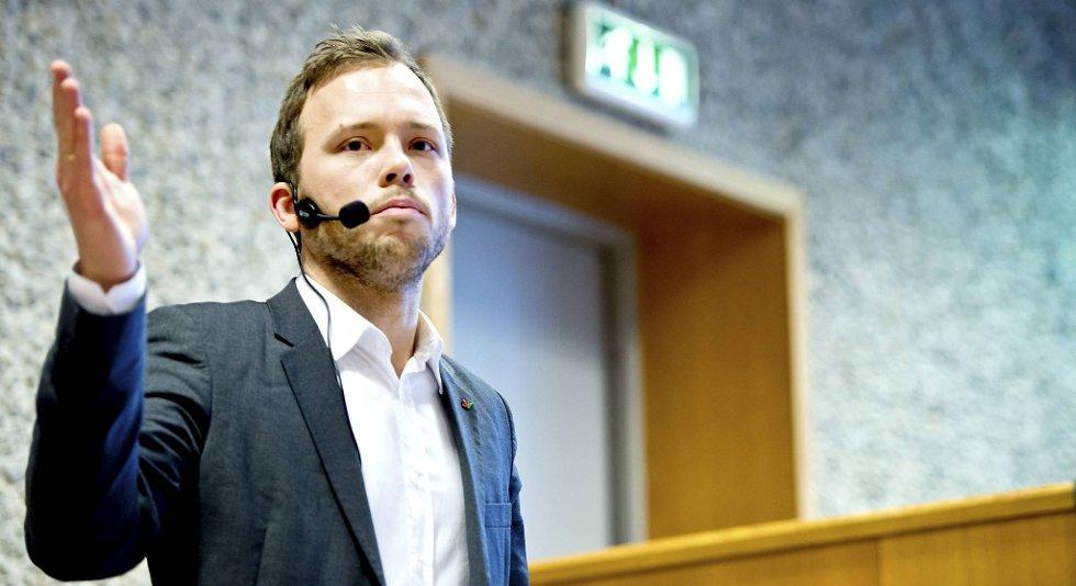 Audun Lysbakken (SV) talte på SV Bergens årsmøte lørdag.