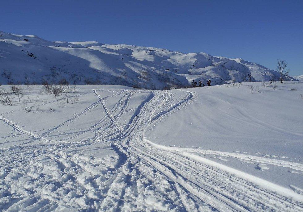 Påskestemning i fjellet i vinterferien. Her fra Kvamskogen. (Foto: ARNE RISTESUND)