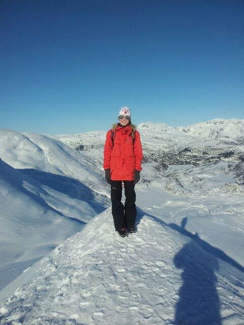 På toppen av Såta på Kvamskogen. (Foto: Lene Dahl Jacobsen)