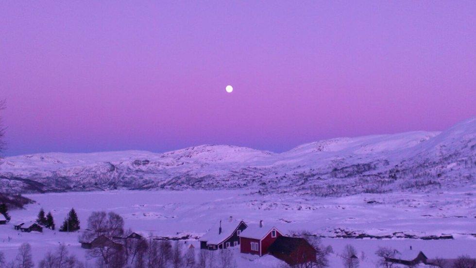 Magisk kveldslys på Hamlagrø søndag kveld (Foto: Oddvin Årdal)