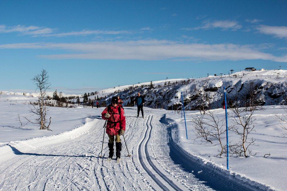 Vinterferiebilde fra Voss Resort -  Ekspressheistoppen i bakgrunnen,  23. feb. (Foto: Jan Einar Thorsen)