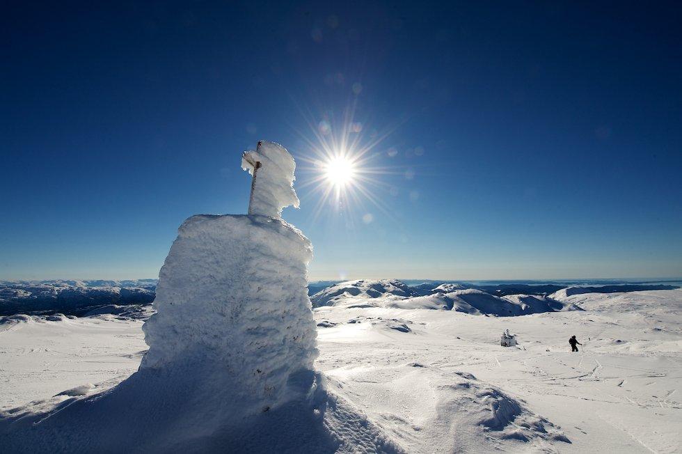 Drømmeforhold på Gullfjellstoppen 24. feb bare en halv time med bil fra Bergen. Pluss noen på ski.                  (Foto: Pal Bentdal                         )