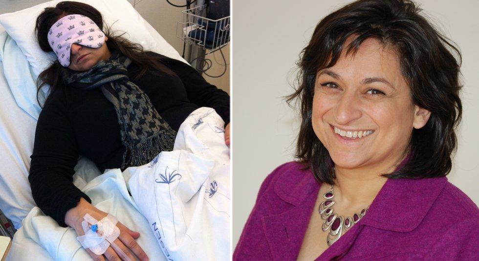 Maria Gjerpe er lege og ME-pasient. Hun er en av den som har fått et nytt liv med kreftmedisinen kreftmedisinen Rituximab. Her får hun den andre injeksjonen på Haukeland sykehus (t.v.).