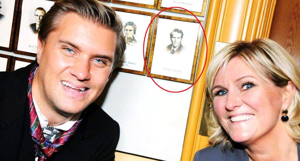 Christian Tynning Bjørnø, Torstein Tynning (i ramme på veggen) og Signe Tynning.
