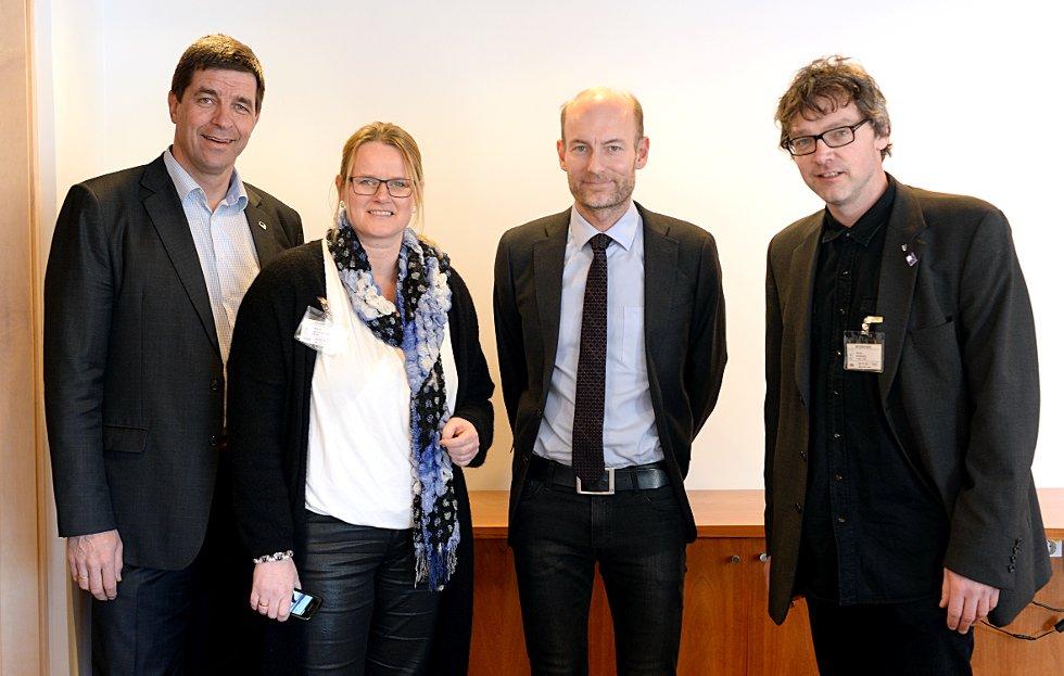 Berit Nordseth Moen (H) og Bersvend Salbu (SV) fra Tynset syntes det var et konstruktivt møte med statssekretær Knut Olav Åmås (H) i Kulturdepartementet. Til venstre ser vi stortingsrepresentant Gunnar A. Gundersen (H).