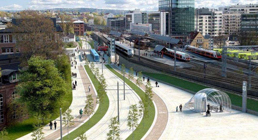 Slik skal Skøyen stasjon i Oslo bli. Nå har prislappen på Fornebubanen økt fra 5 til 10 milliarder kroner.