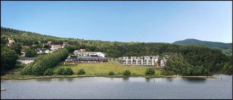 De nye planlagte boligene vil være på Rosnes-jordet ved siden av Rosnes bo- og servicesenter. Dette er et illustrasjonsfoto av hvordan feltet vil se ut etter utbyggingene.