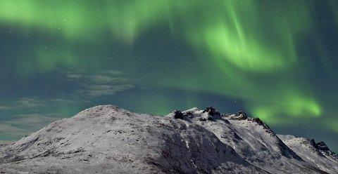 Nordlys over Ersfjorden i Tromsø kommune.