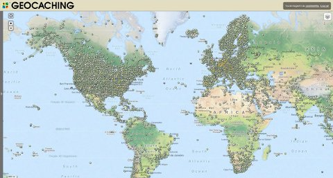 På dette kartet, som er hentet fra geocaching.com, ser du hvor i verden geocachene ligger tettest.