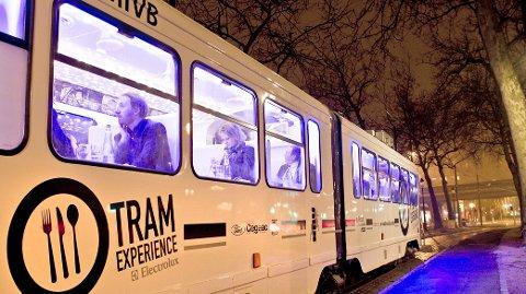 Tram Experience, gourmetmat om bord i en trikk som kjører gjennom Brussel.