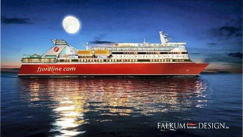 Illustrasjonen viser hvordan MS Bergensfjord vil se ut etter ombygging. Fjord Line ønsker skipet til Sandefjord Havn. Illustrasjon