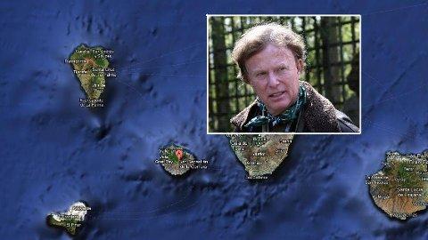 Petter Olsens feriesteder skal ikke være rammet av brannen som herjer på øya La Gomera (merket med A på kartet).