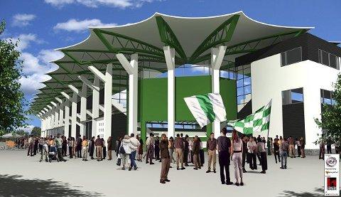 FRA UTSIDEN: Her ser en hvordan den nye arenaen blir seenede ut fra utsiden. Dette er et av hjørnene.