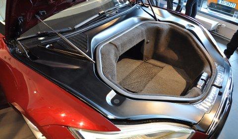 Fordi batteriene befinner seg midt i bilen, er det god plass til bagasje også foran.