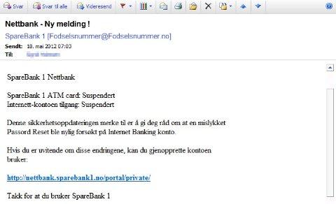 Dette ere en skjermdump av den falske e-posten som ble sendt ut.