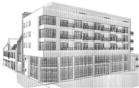 Vit-Eiendom AS har fått denne skissen over det nye bygget. Han understreker at dette kun er en skisse, og en ikke kan vente seg at bygget blir identisk med skissen. tegning: Søndergaard Rickfelt AS