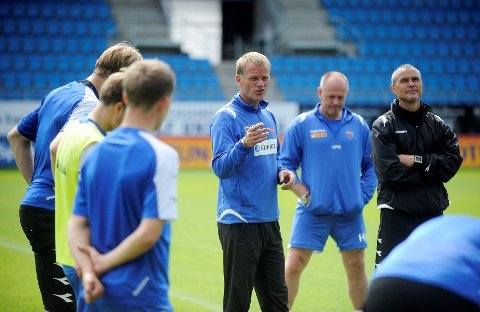 Trener Arne Sandstø vil helst ikke forandre på startelleveren mot Bryne. Foto Anders Mehlum Hasle