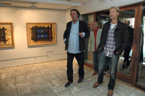 Kjell Nupen i helikopter på åpningen av Kunstforeningens sommerutstilling