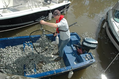 Christopher Daniel Hellman er en av dem som rydder Kanalen for glasopor-biter.