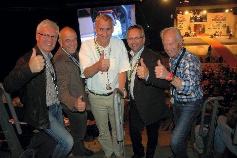 VETERANER på VM i Håkons hall, fra venstre: Anstein Kvam, Thor Even Tomter, Hans Bjugstad, Bjørn Sønsteby, Gunnar Mæhlum.