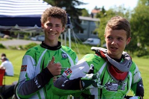 Magnus Skarpaas Andersen (til venstre) og Sebastian Aslaksrud er to av Rådes største medaljekandidater under NM og UM i BMX på Sola i helgen.