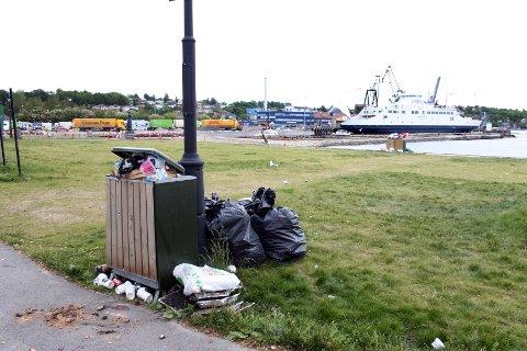 Flott vær har trukket mossingene ut på stranden. På Sjøbadet er søpledunkene fulle, og søppelberget bare vokser.