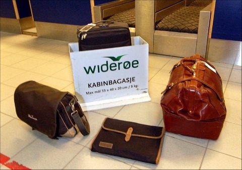 PASSER, PASSER IKKE: Håndbagasje kommer i mange ulike størrelser og former. Ikke alle like godt tilpasset dagens krav til størrelse på 55cm x 35 cm x 20 cm.