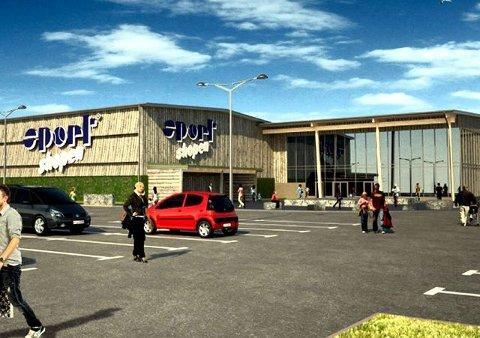 Grebbestad Slik vil Nordens største sportsbutikk se ut. Åpningsdagen er på 17. mai, som også er Kristi himmelfartsdag i år. illustrasjon: sportshopen