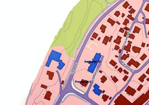 Det er Traraveien 19 og Fremskridt 2 som nå foreslås regulert til offentlig formål.