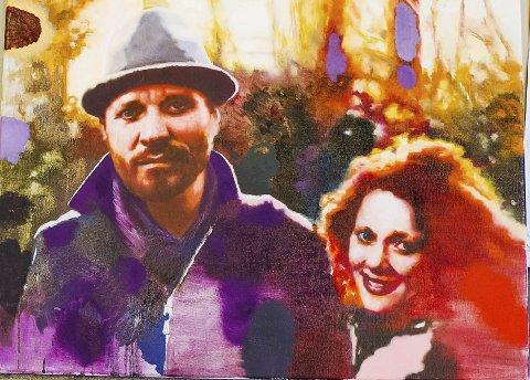 Platecover: Sverre Bjertnes har malt coveret til kjæresten Hanna-Maria Grønneberg og Magnus Grønnebergs felles plate.