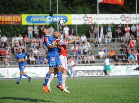 Panajotis Dimitriadis og SF ble presset hardt bakover av Kai Risholt og Bryne, men det holdt likevel til tre poeng på Bryne stadion. FOTO: ANDERS MEHLUM HASLE