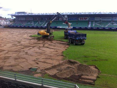 En gravemaskin og en lastebil sørger for å fjerne naturgresset på Briskeby Arena.