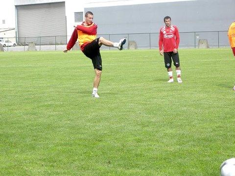 FULL KLAFF Mot Ranheim torsdag ble Andreas Tegström den store FFK-helten med to fulltreffere i ekstraomgangene. I går var det tilbake til treningshverdagen igjen. FOTO: VIDAR HENRIKSEN