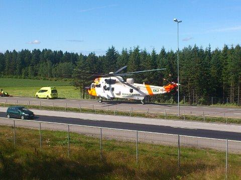 Et Sea King--helikopter ble rekvirert etter MC-velten på E6.