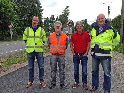 Fra venstre: Petter Akerholt i Brødrene Dahl, oppfinner Arne Skauge Johannessen, Stein Klevan i LSA og Stian Auen i Brødrene Dahl.