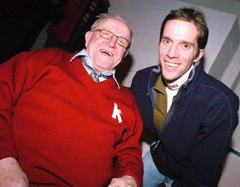 """KIF-hopperen Hilmar """"Rappen"""" Myhra sovnet stille inn lørdag nesten 98 år gammel. Her er han fotografert sammen med Sigurd Pettersen i 2007. FOTO: OLE JOHN HOSTVEDT"""