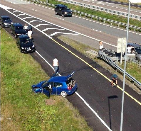 To personer er fraktet til sykehus etter denne trafikkulykken.