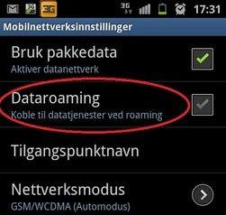 Skru av dataroaming i utlandet.