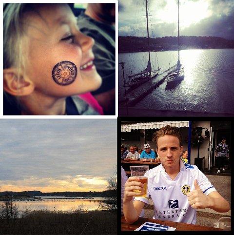Her ser du et knippe bilder som er lagt ut på Instagram. Øverst til venstre:Hanna (4) fått seg et Leeds-stempel på haka - bildet er tatt av Sandra Tingvoll. Bildet øverst til høyre: Det er tatt av HBjanger. Nederst til venstre: Et bilde fra Sandefjord som  er tatt av Eline Klaastad. Nederst til høyre: Pål Stiklestad lader opp før Leedskampen. Alle bildene er gjengitt med tillatelse.