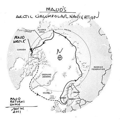 HJEMTUREN: Den heltrukne linjen viser ferden til Roald Amundsen inntil båten ble tatt i pant og solgt. Den stiplede linjen viser kursen redningsekspedisjoenn har tenkt å ta tilbake til Vollen.
