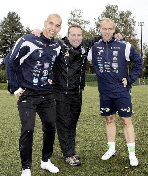 Suksess: Mahmoud El Haj  (f.v.), Geir Bakke og Tommy Edvardsen  har rykket opp med Kristiansund. Foto: Dagfinn Limoseth