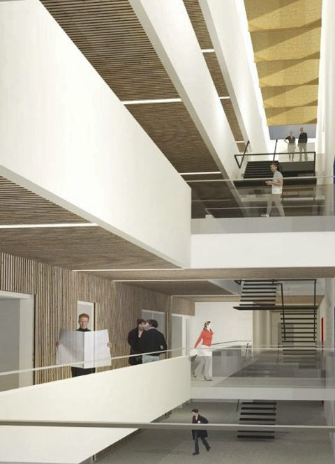 MAGASINER: Tre etasjer blir liggende under bakkenivå.