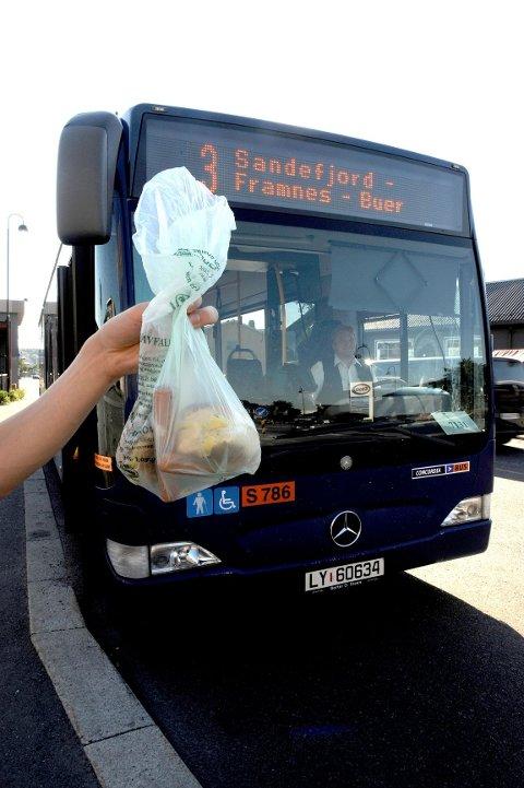 Matavfallet går til produksjon av biogass som drivstoff for busser.