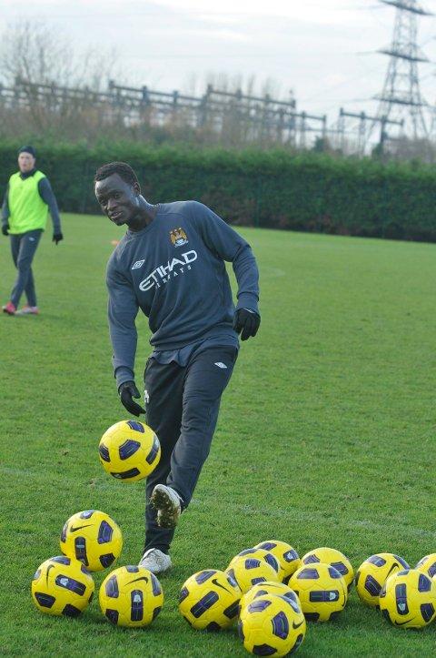 Mohammed Abu er første resultat av samarbeidsavtalen mellom Manchester City og Strømsgodset. Her er abu i aksjon under gårsdagens reservelagstrening.