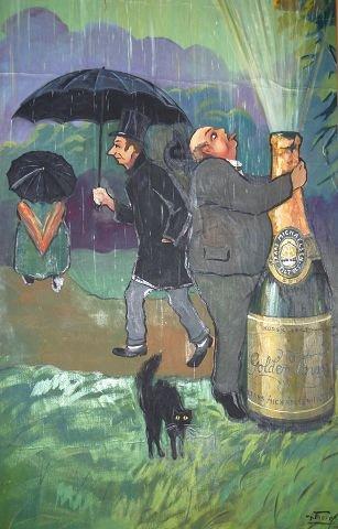 """Her ser vi """"Spissborgere"""" skjerme seg under paraplyer mot drukkenskapens fontene med Golden Power i spruten. Den forfyllede borger som er glad i et glass drikker villig av fontenen. Dette bildet var jo også ren reklame for den sprudlende drikken som ble produsert i tonnevis hos Frantz Michaelsen på hans kjente vingård borte på Filtvedt i Hurum. Golden Power var en musserende fruktvin med en respektabel alkoholprosent. Den var i Vinmonopolets hyller frem til for 4-5 år siden. Mangt et ungt brushode debuterte i Bacchus gleder ved å bringe denne med på sin første fest i ungdommen."""