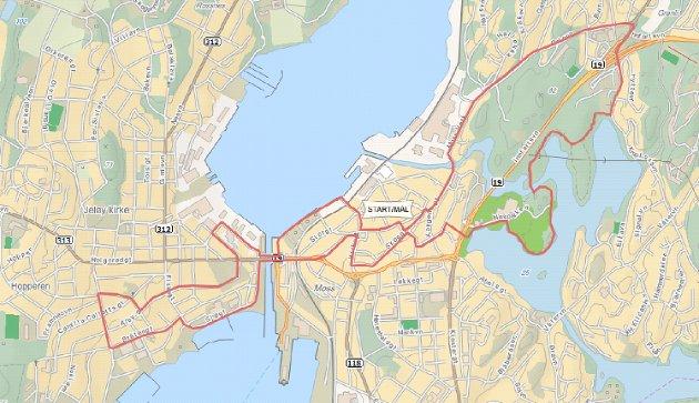 Kart for Christian Frederik-løpet 2011.
