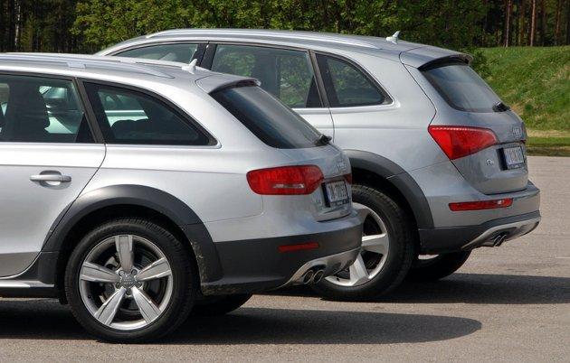 Ingen tvil om ulik profil på de to bilene. Q5 bak.
