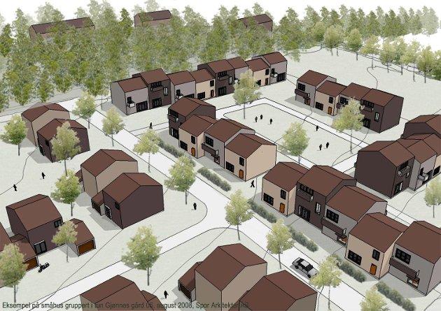 KANSKJE SLIK: Husene er ikke tegnet, men dette er en illustrasjon på hvordan småhusmiljøet kan se ut. ILLUSTRASJON: SPOR ARKITEKTER