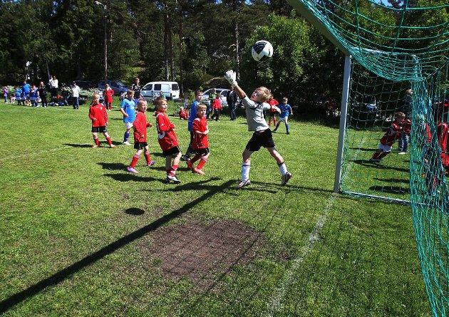 Larkollen cup  V/S-keeper Sondre Stafne mte se en Vang-avslutning fra kloss hold suse inn i nettmaskene.